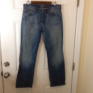 7 For All Mankind boycut buttonfly distressed jean